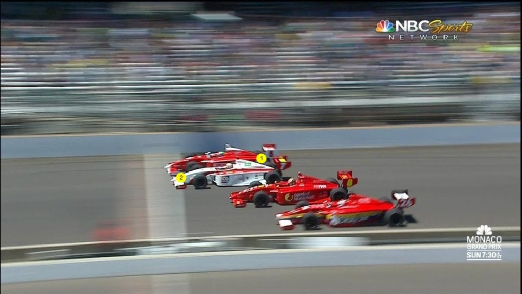 A close finish in motorsports